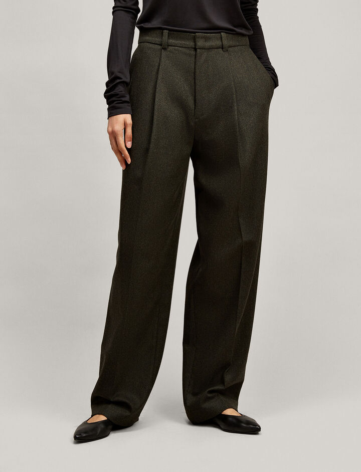 Joseph, Riska Herringbone Trousers, in MILITARY