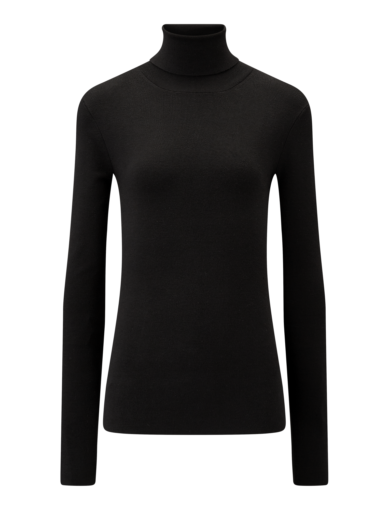 Joseph, Roll Neck Silk Stretch Knit, in BLACK
