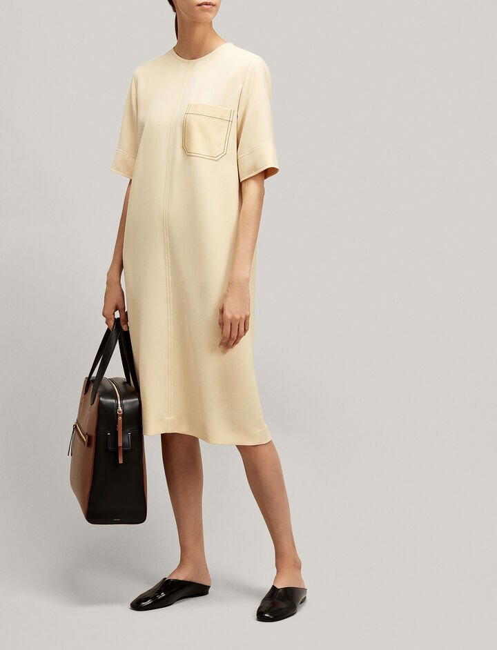 Joseph, Ellis Fluid Twill Dress, in BUTTER