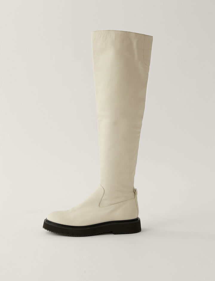 Joseph, British Knee High Boot, in Off White