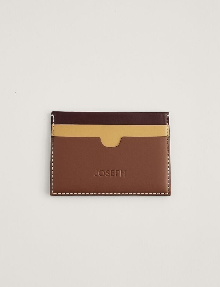 Joseph, Leather Card Holder, in MIX 1 GARNET/MUSTARD/TAN