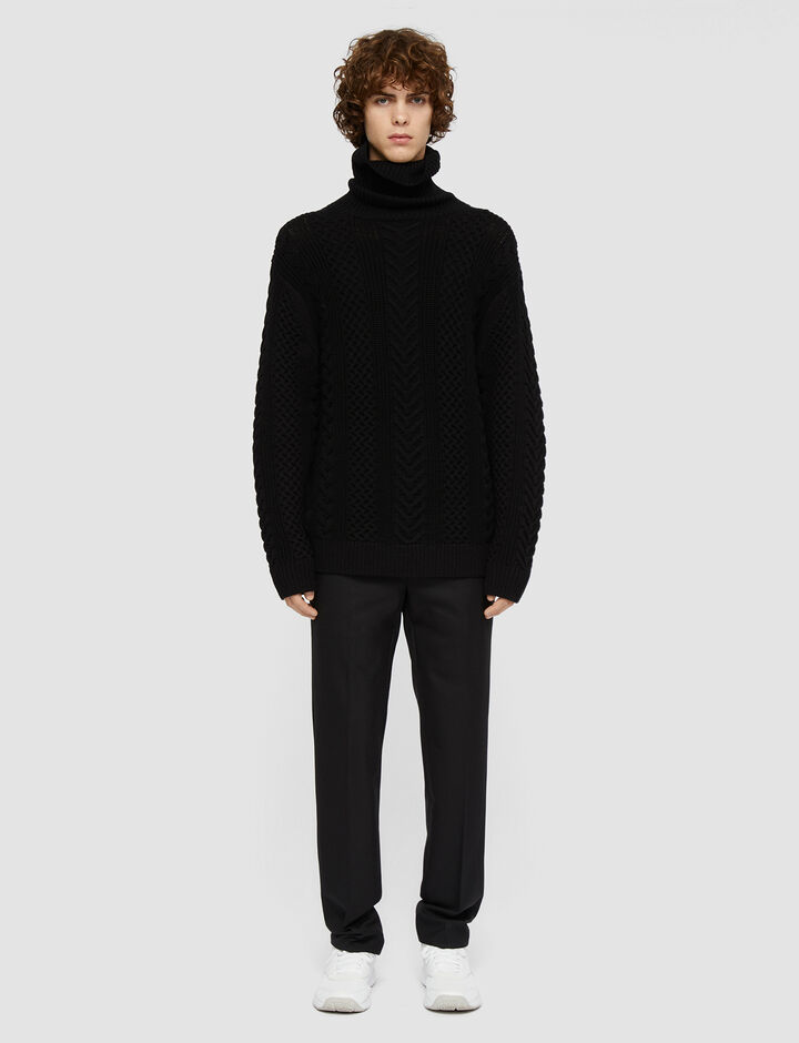 Joseph, Worsted Cable Knit High Neck Jumper, in Black
