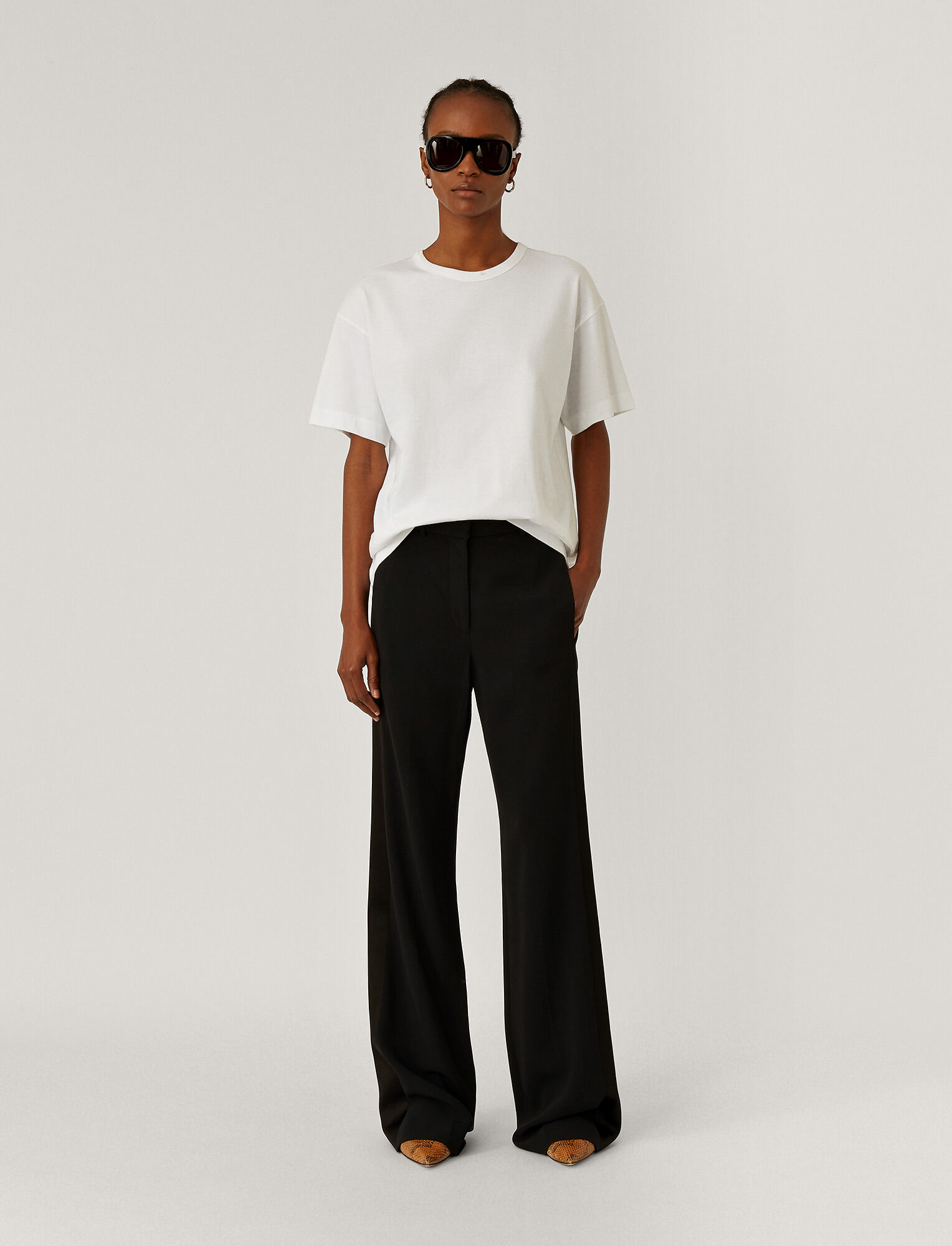 Joseph, Morissey Tuxedo Stretch Cady Trouser, in BLACK