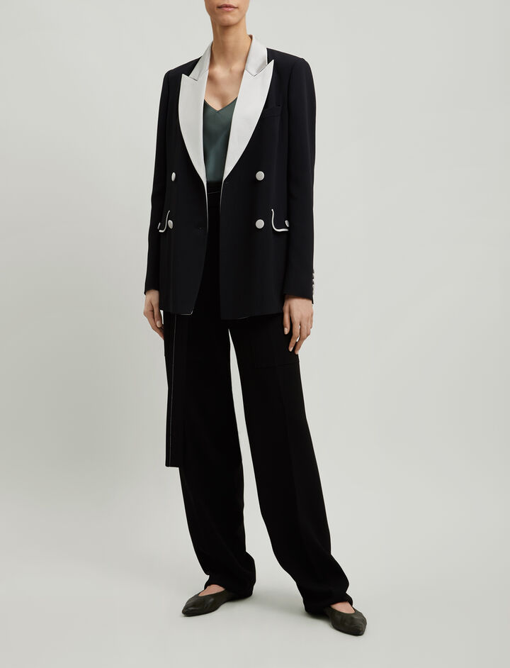 Joseph, Moore Crepe Satin Jacket, in BLACK