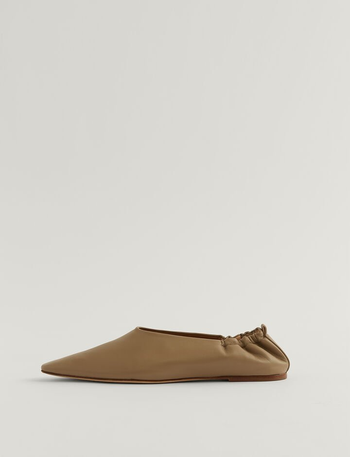 Joseph, Pointy Square Ballerina Shoes, in MASTIC