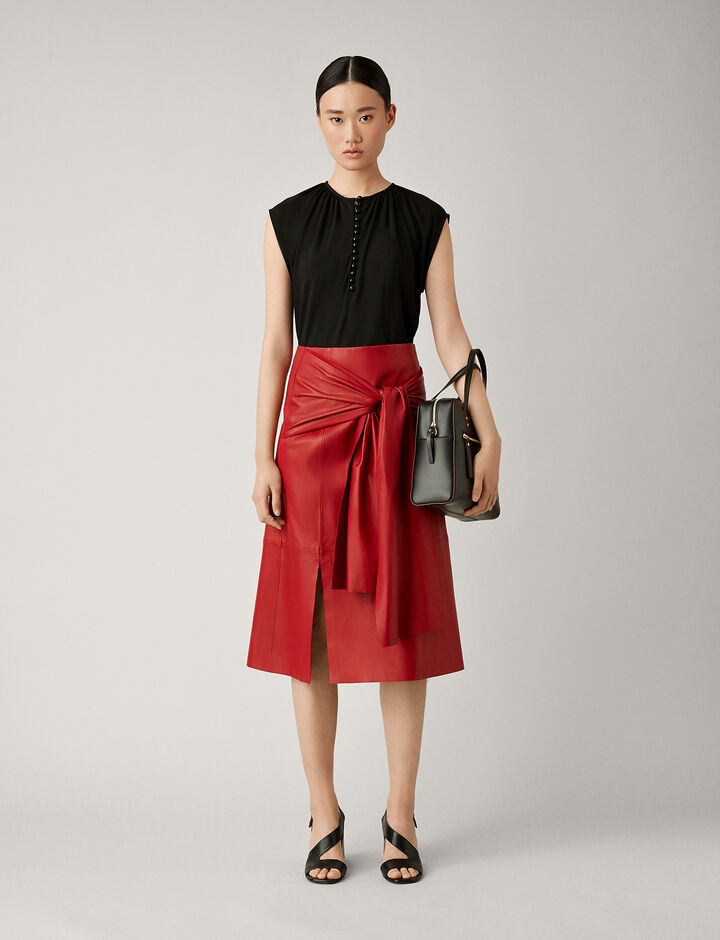 Joseph, Renne Leather Skirt, in RUBY