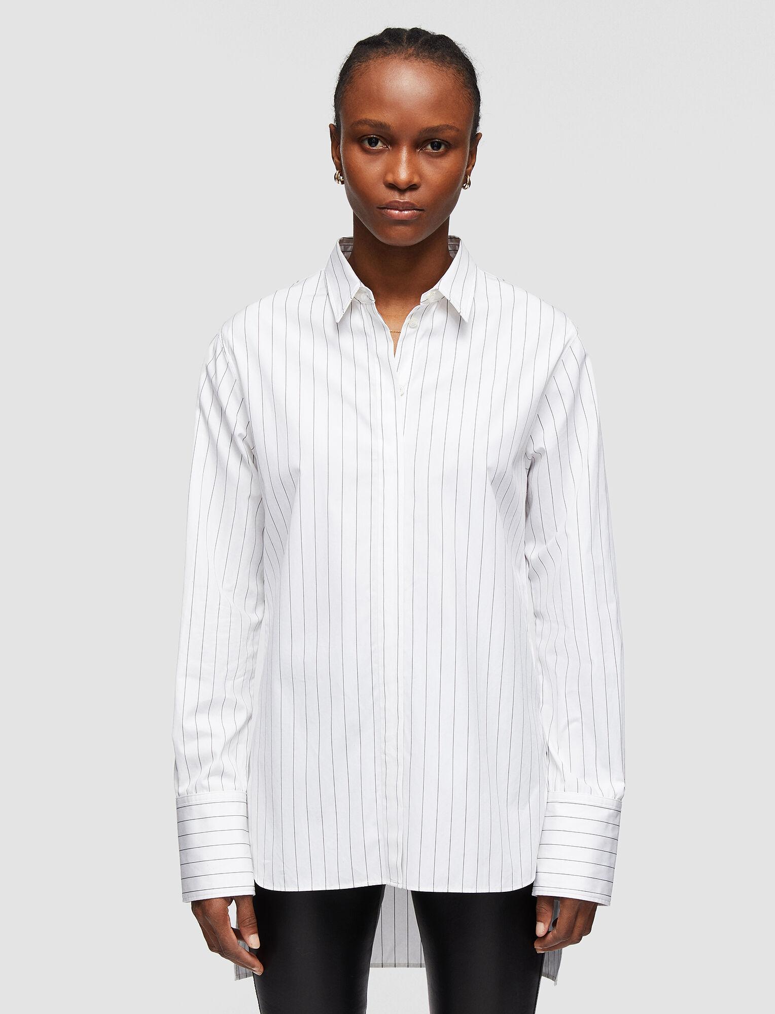 Joseph, Poplin Stripe Bold Blouse, in BLACK/WHITE