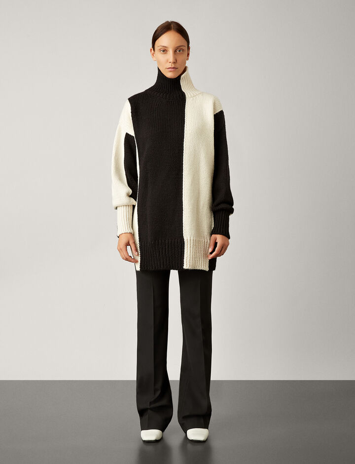 Joseph, High Neck Bicolour Knit, in IVORY/BLACK