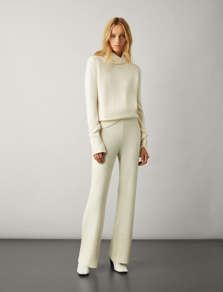 Joseph, High Neck Pure Cashmere Knit, in CREAM