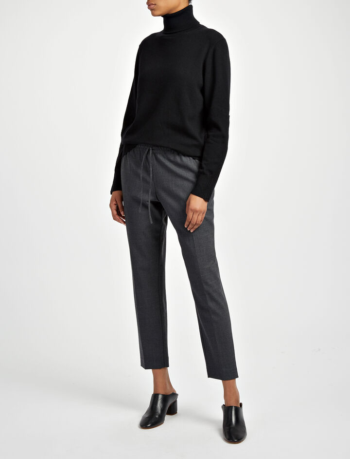 Joseph, Comfort Wool Loulou Trousers, in GRAPHITE