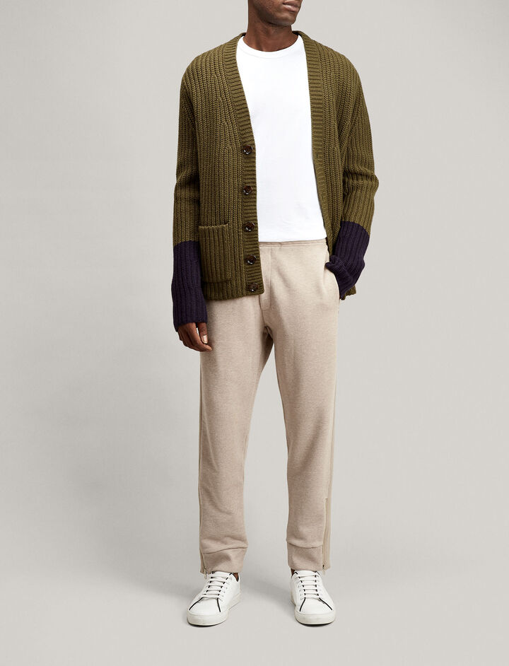 Joseph, V Neck Soft Wool Knit Cardigan, in MILITARY COMBO