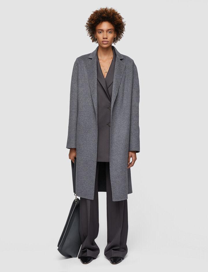 Joseph, Double Face Cashmere Cenda Long Coat, in NICKEL