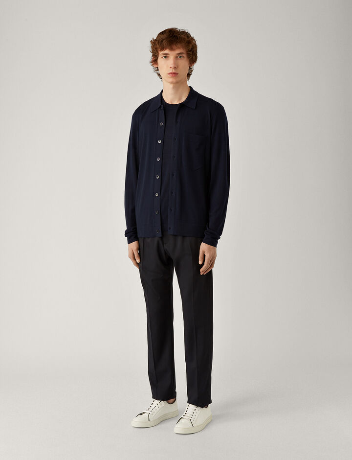 Joseph, Shirt-Light Merinos, in NAVY