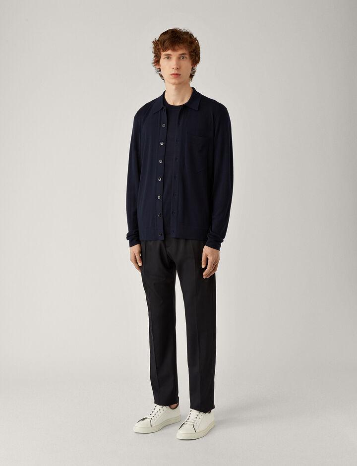 Joseph, Shirt-Light Merinos, in NAVY