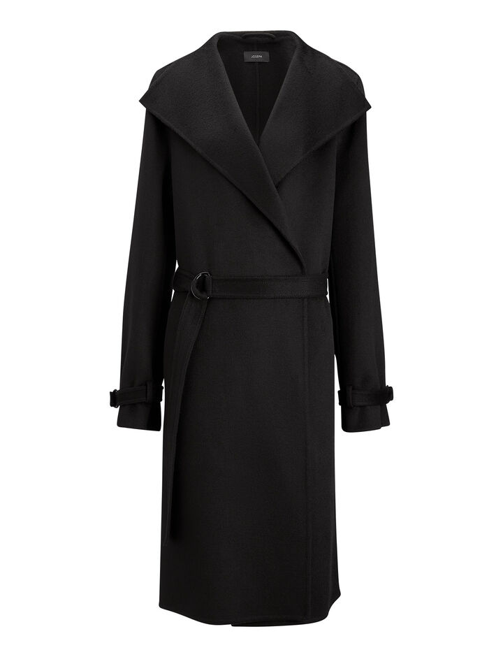 Joseph, New Lima Double Cashmere Coat, in BLACK