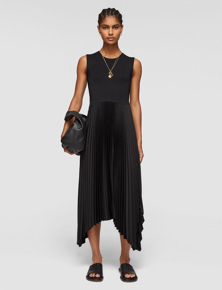 Joseph, Knit Weave Plissé Dera Dress, in BLACK