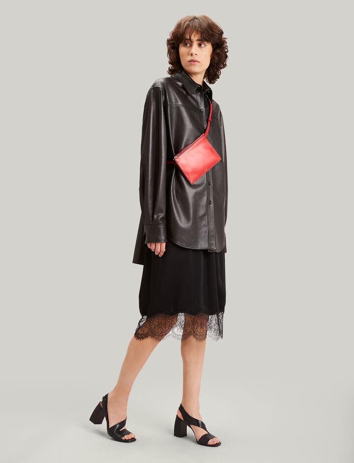 Joseph, Ward Crepe Satin Skirt, in BLACK