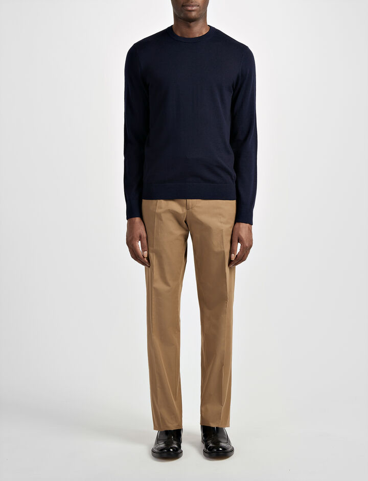 Joseph, Merinos and Suede Patch Sweater, in NAVY