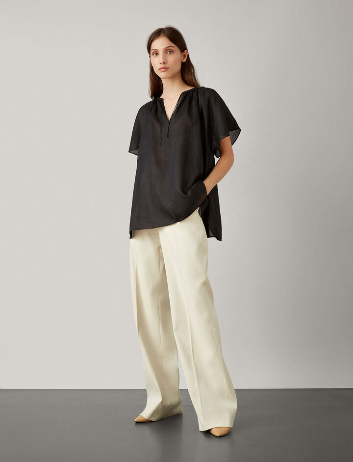Joseph, Rita Ramie Voile New Blouse, in BLACK