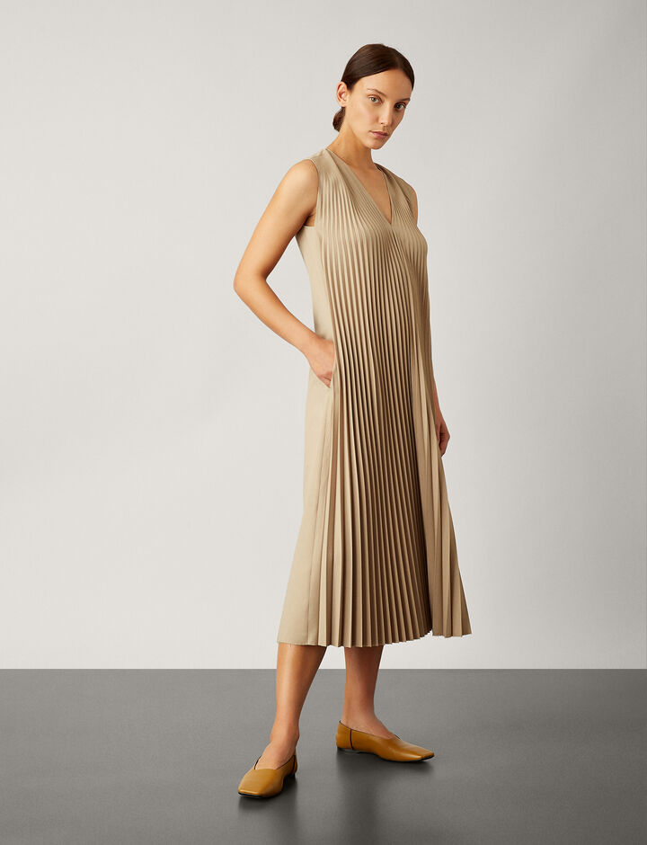Joseph, Enid Pleated Wool Dress, in BEIGE