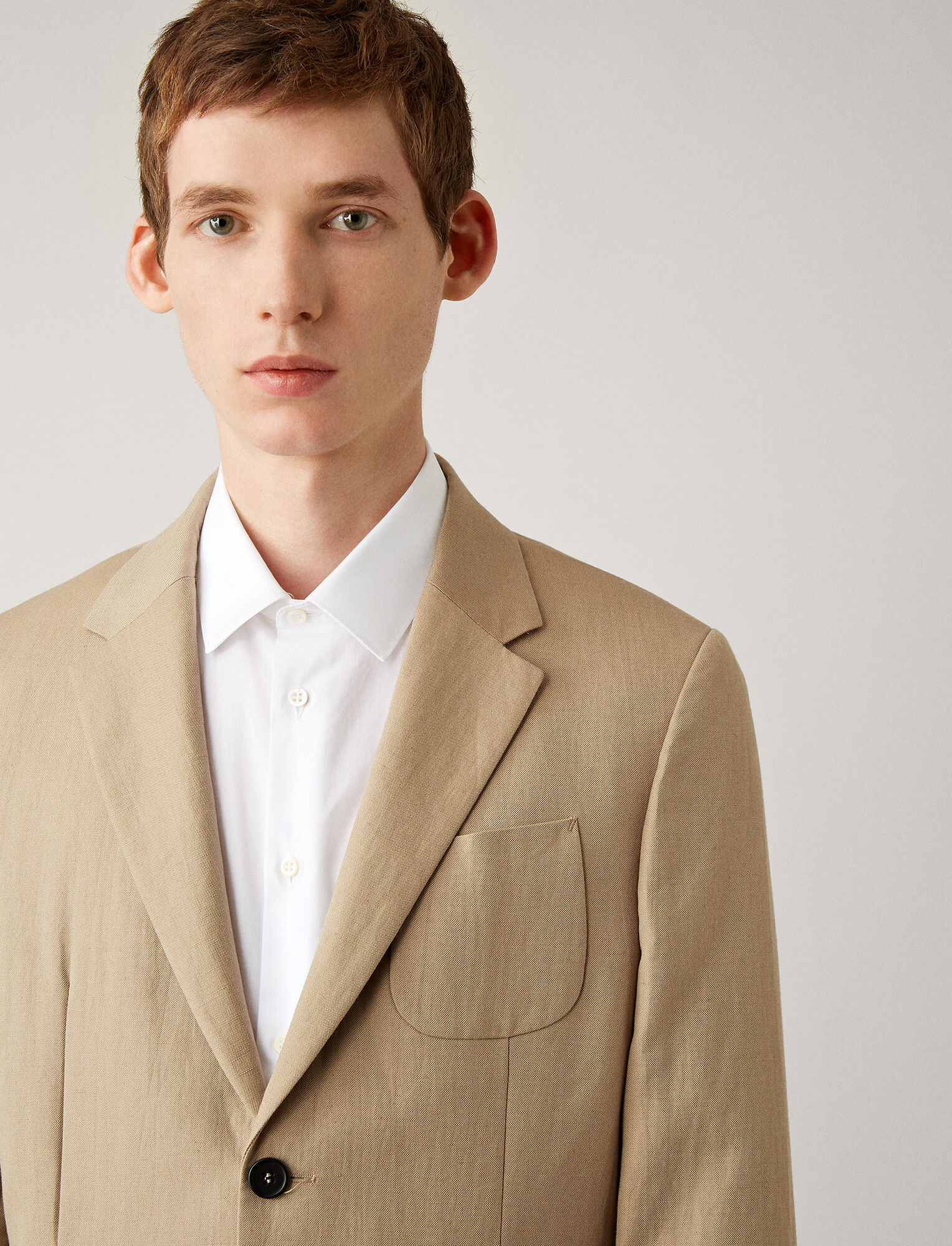 Joseph, Cassis Linen Cotton Blend Jacket, in SAND