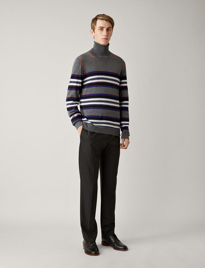 Joseph, Light Stripe Merinos Knit, in CHARCOAL