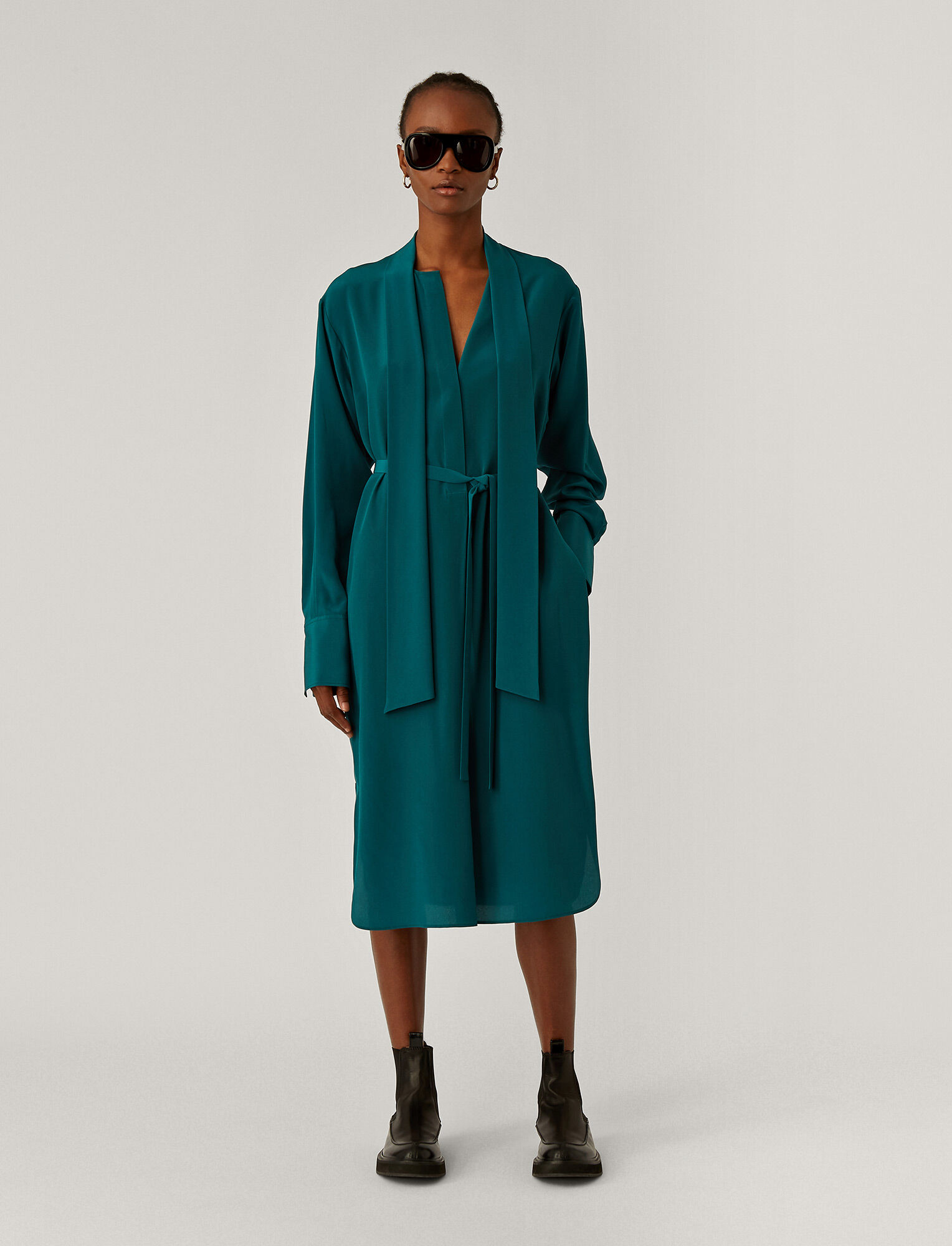 Joseph, Dorianne Crepe De Chine Dress, in Teal