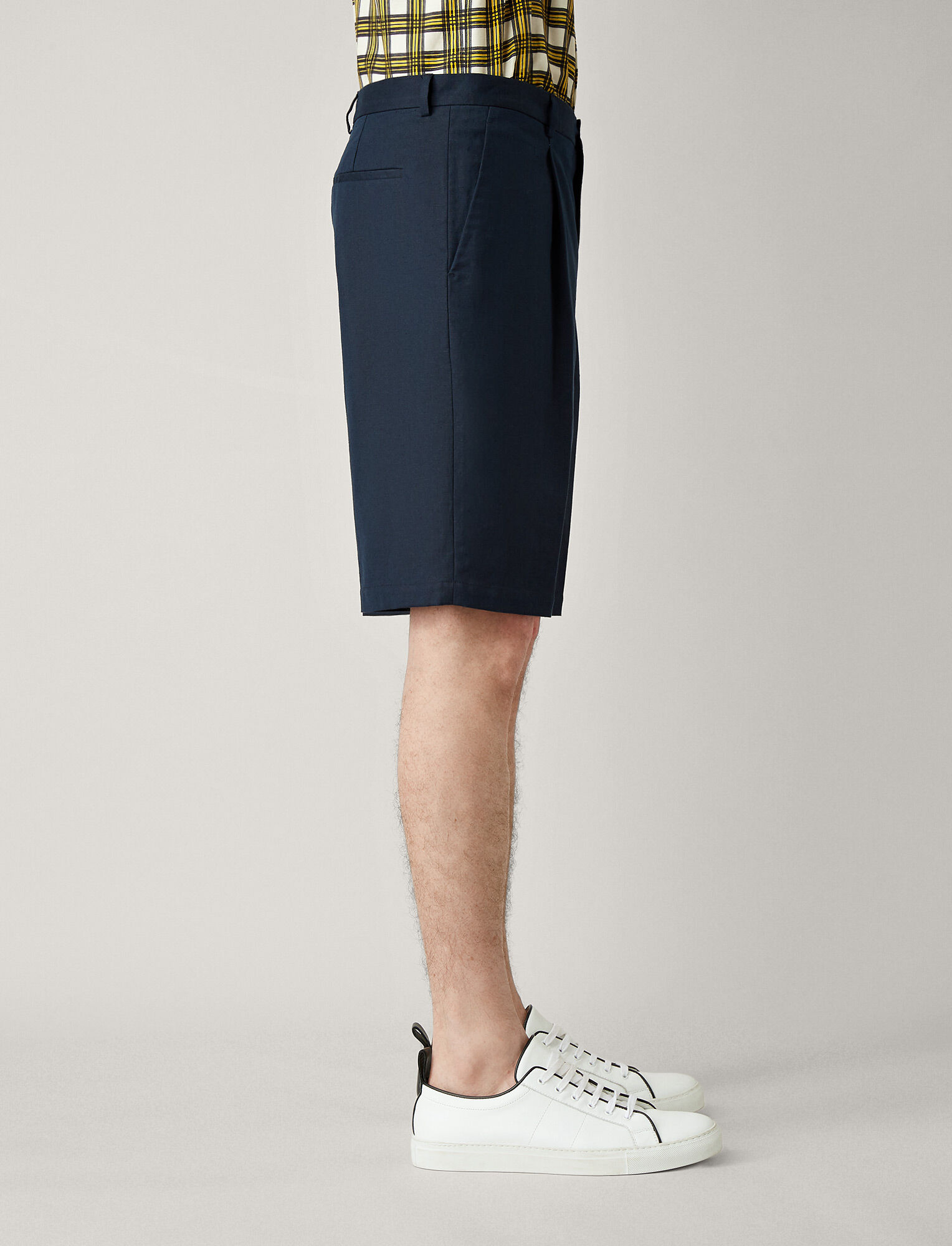Joseph, Short Plage Linen Cotton Blend Trousers, in NAVY