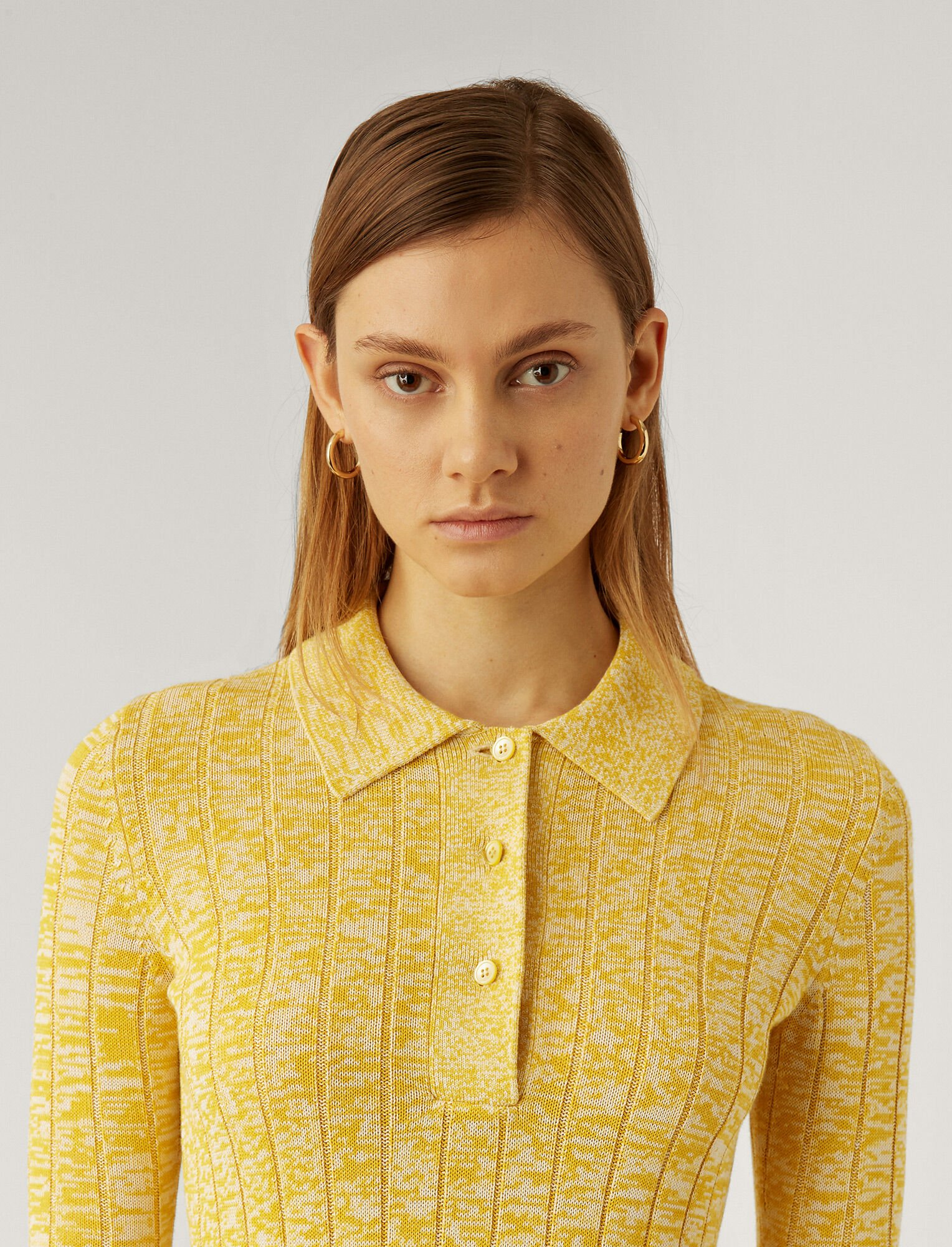 Joseph, Pull Polo à côtes en coton et viscose, in YELLOW