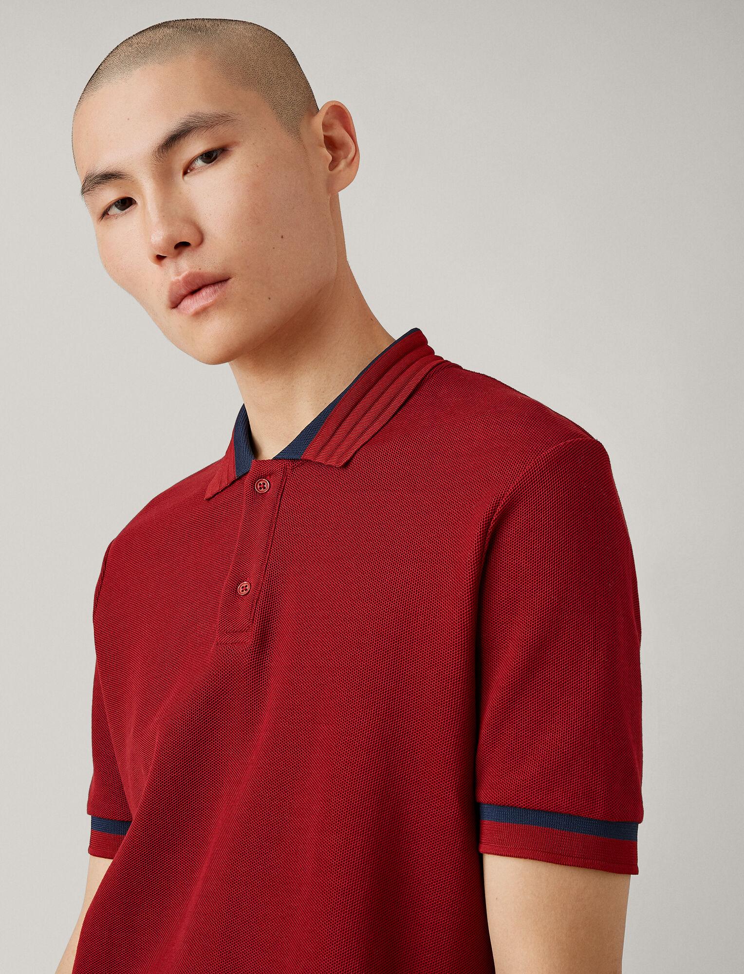 Joseph, Tee-shirt polo en jersey piqué, in CLARET