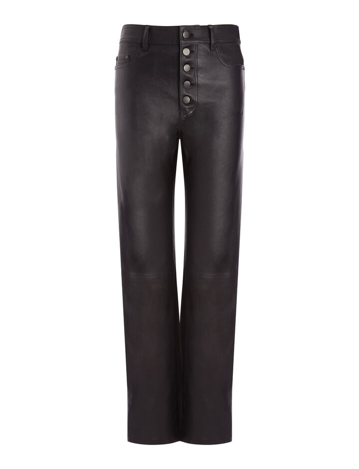 Joseph, Den Stretch Leather Trousers, in NAVY
