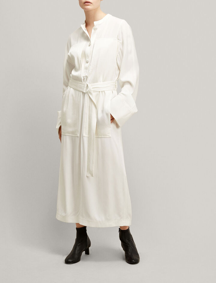 Joseph, Fort Crepe Satin Dress, in WHITE