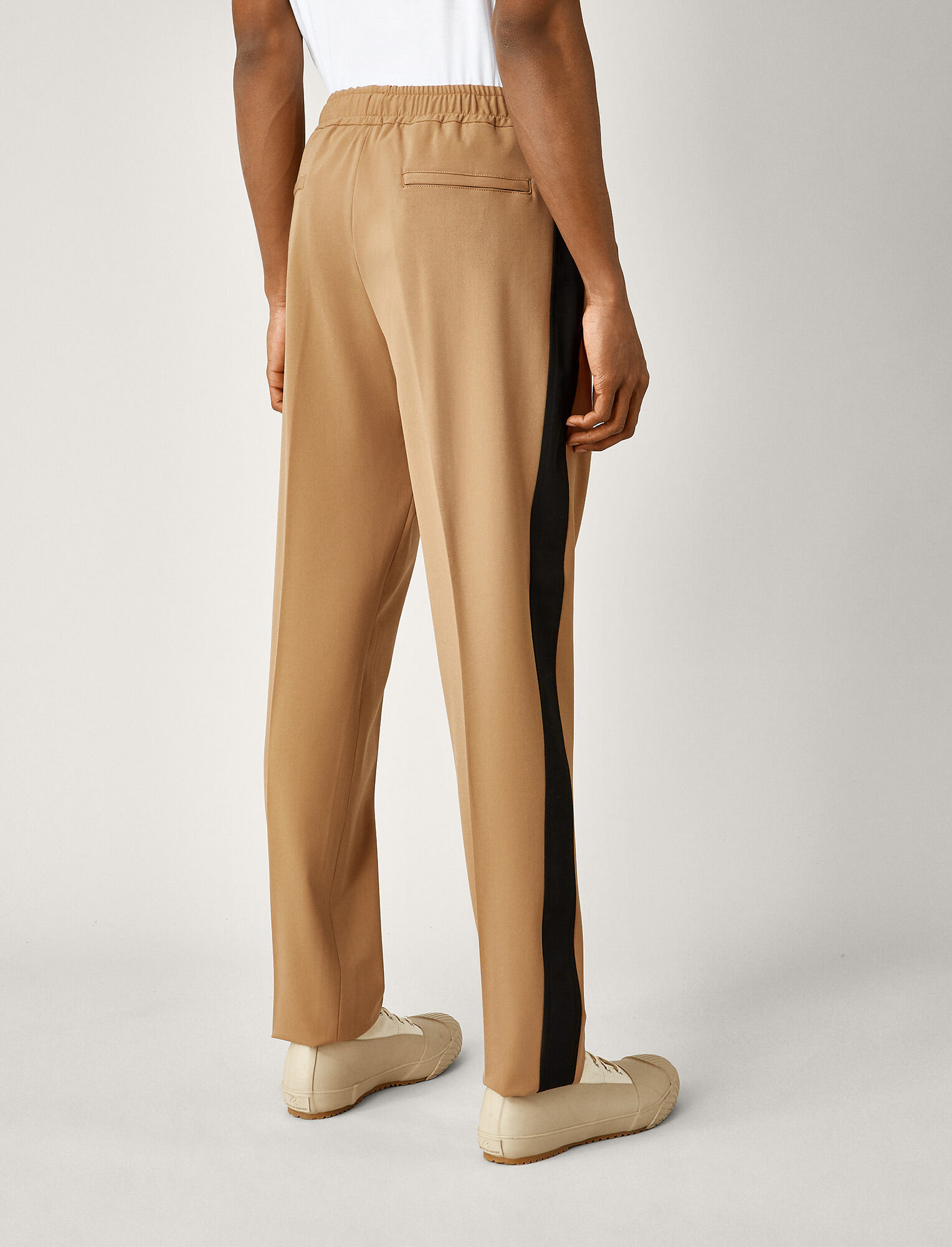 Joseph, Pantalon Eza tricolore en laine techno stretch, in CAMEL COMBO