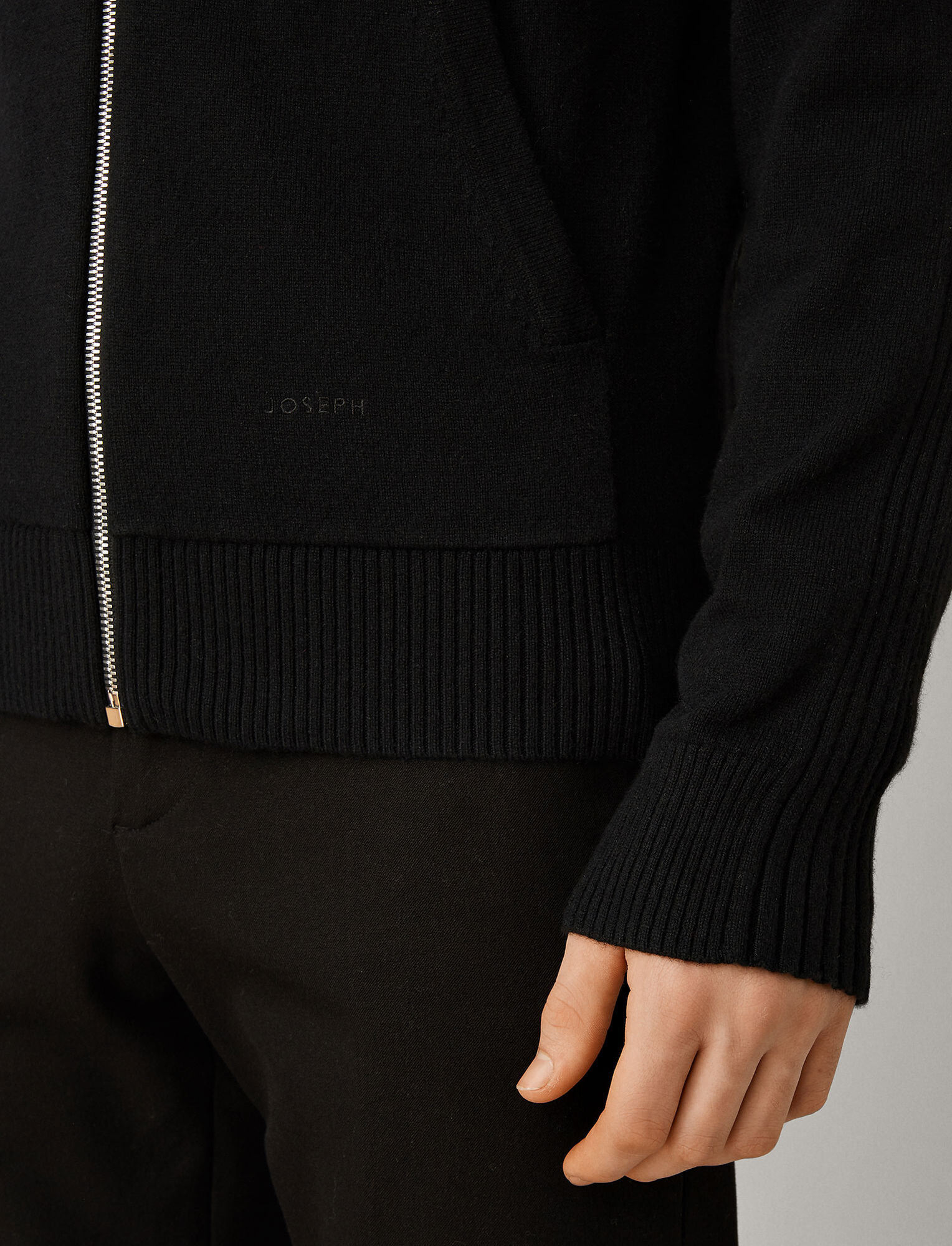 Joseph, Mongolian Cashmere Knit Hoodie, in BLACK