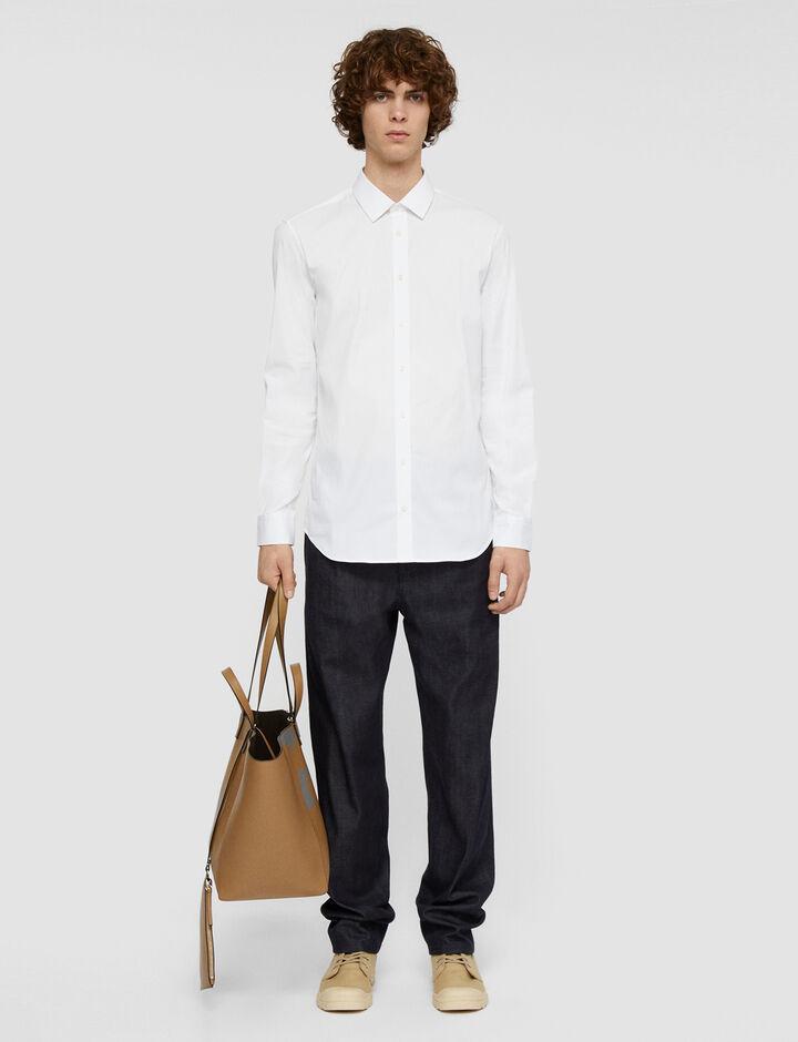 Joseph, Jim Poplin Stretch Shirt, in WHITE