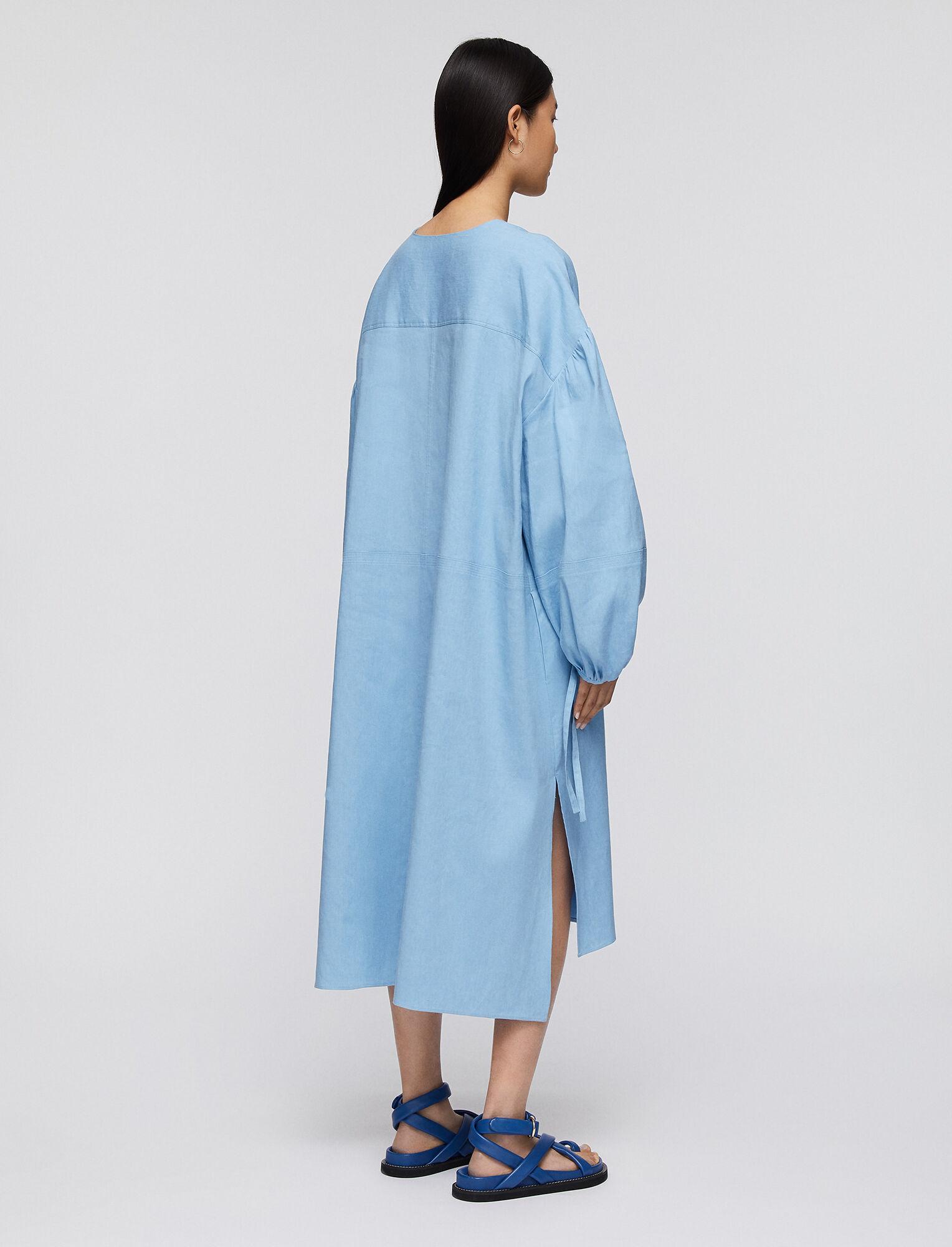 Joseph, Stretch Linen Cotton Duna Dress, in CERULEAN
