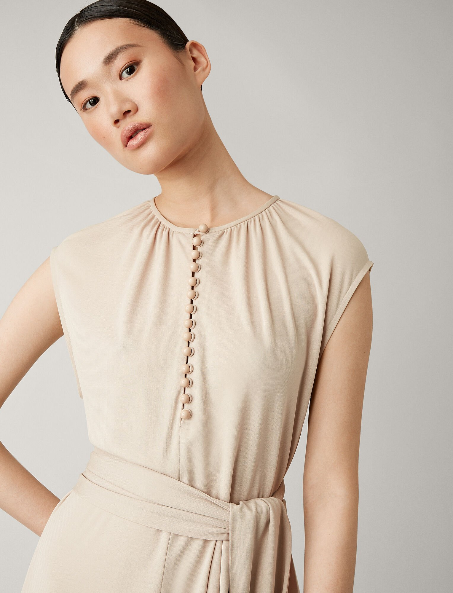 Joseph, Romy Crepe Jersey Dress, in OYSTER