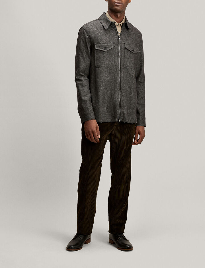 Joseph, Jacques Charles Herringbone Flannel Jacket, in CHARCOAL