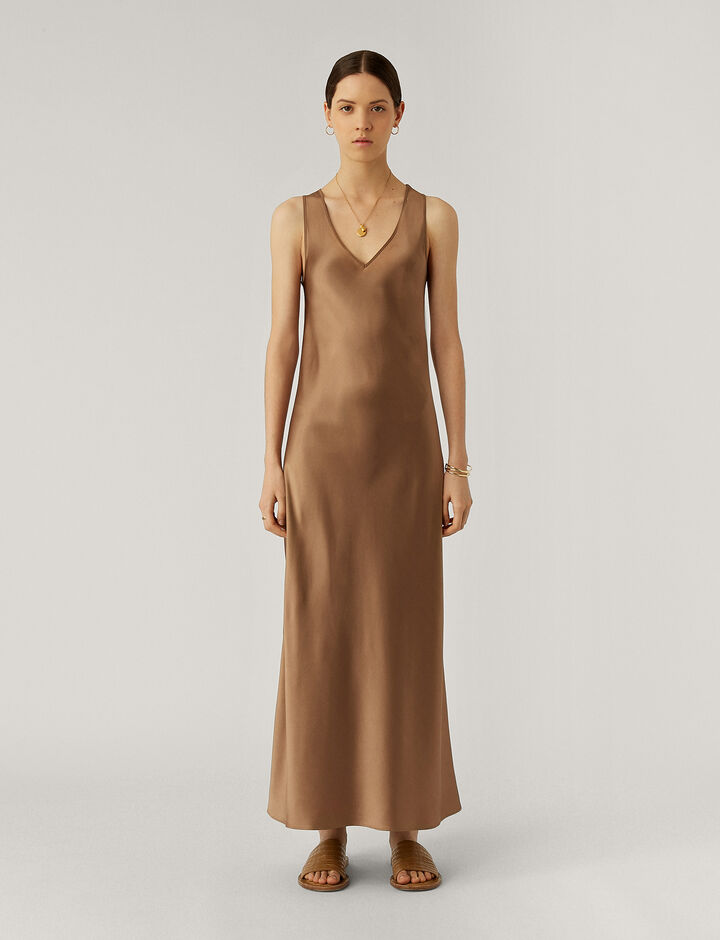 Joseph, Daris Silk Satin Dresses, in Taupe