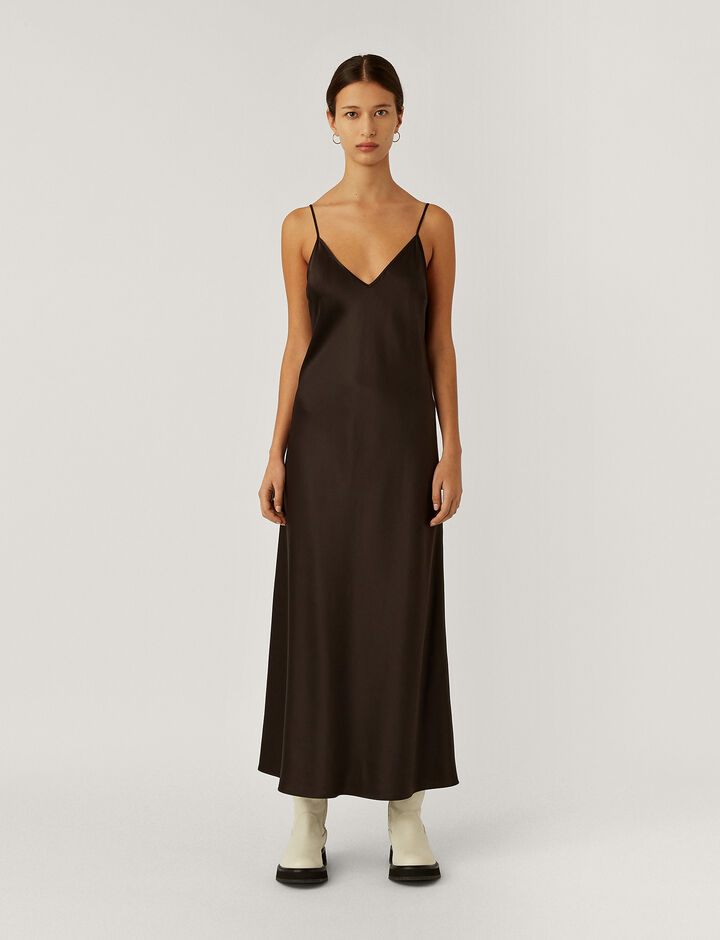 Joseph, Clea Silk Satin Dress, in BLACK