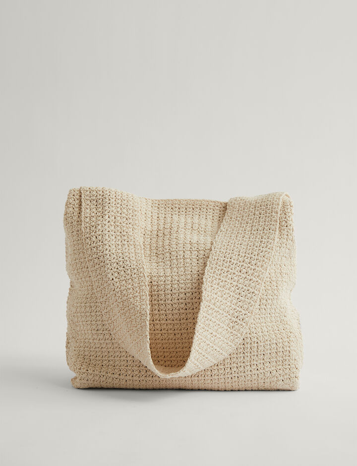 Joseph, Hand Crochet Bag-Crispy Cotton, in PORCELAIN
