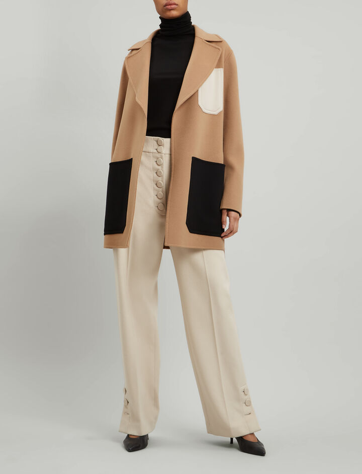 Joseph, Marcus Short Luxe Double Wool Coat, in CAMEL
