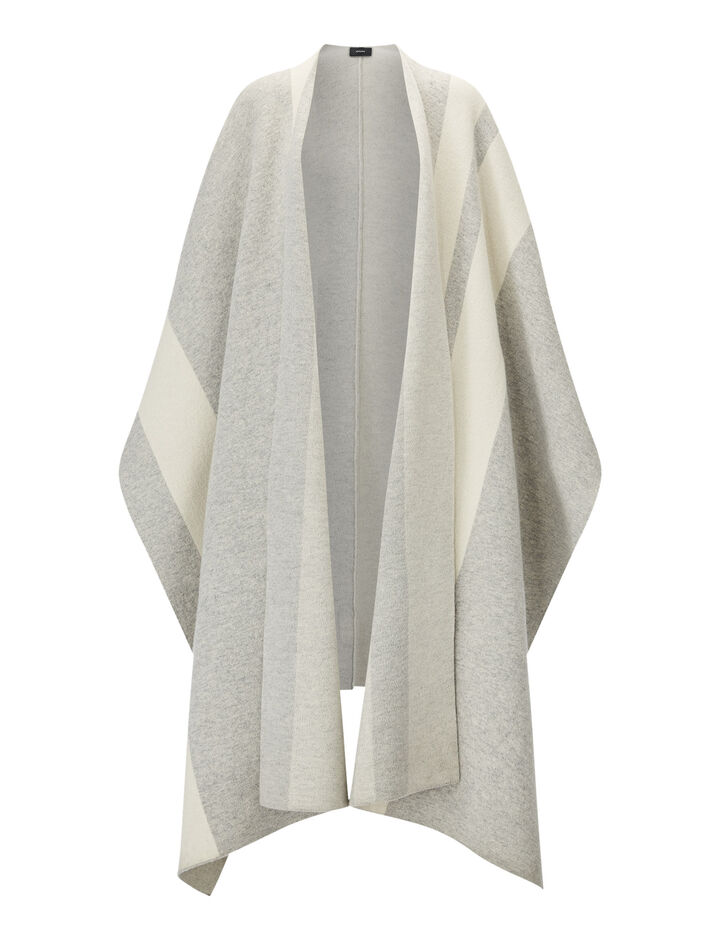 Joseph, Poncho Stripes-Kaftan Wool, in PEARL