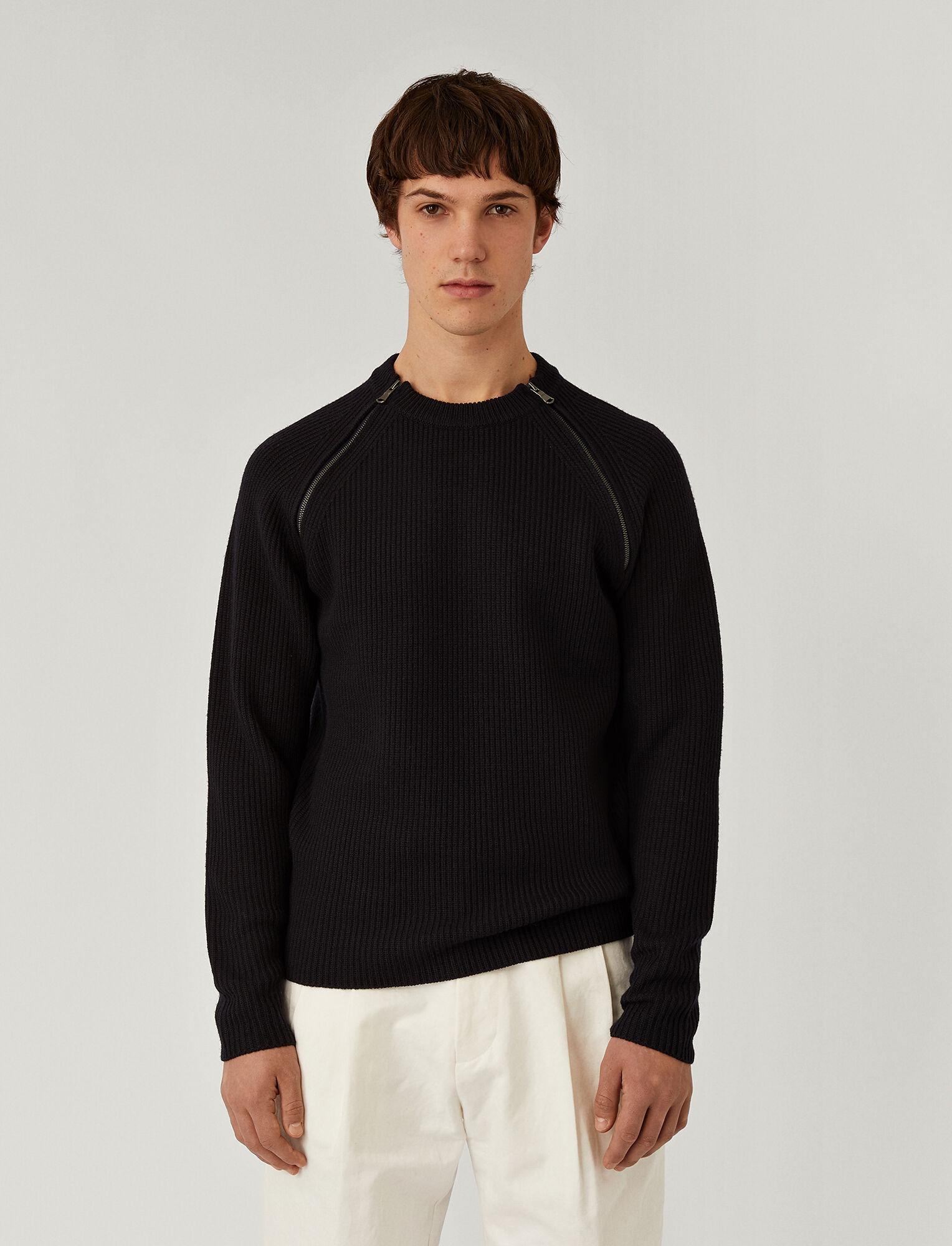 Joseph, Zip Merinos Knit, in Navy