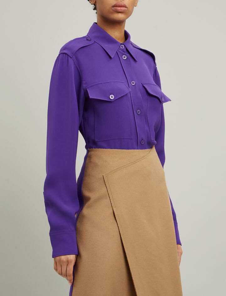 Joseph, Rainer Crepe Silk Blouse, in VIOLET