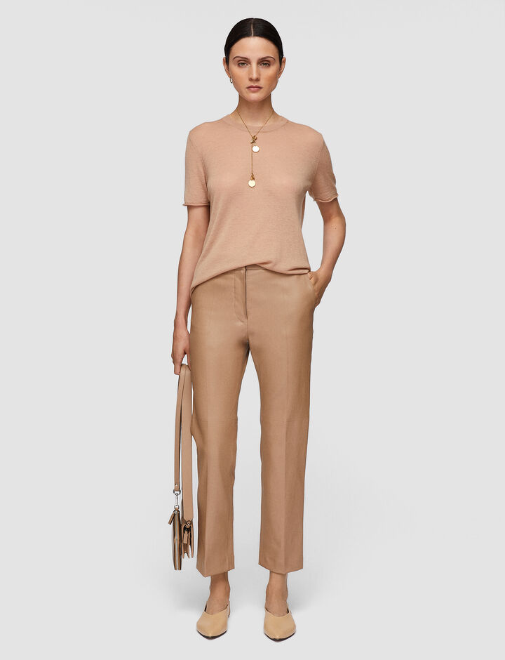 Joseph, Leather Stretch Coleman Trousers, in SIROCCO