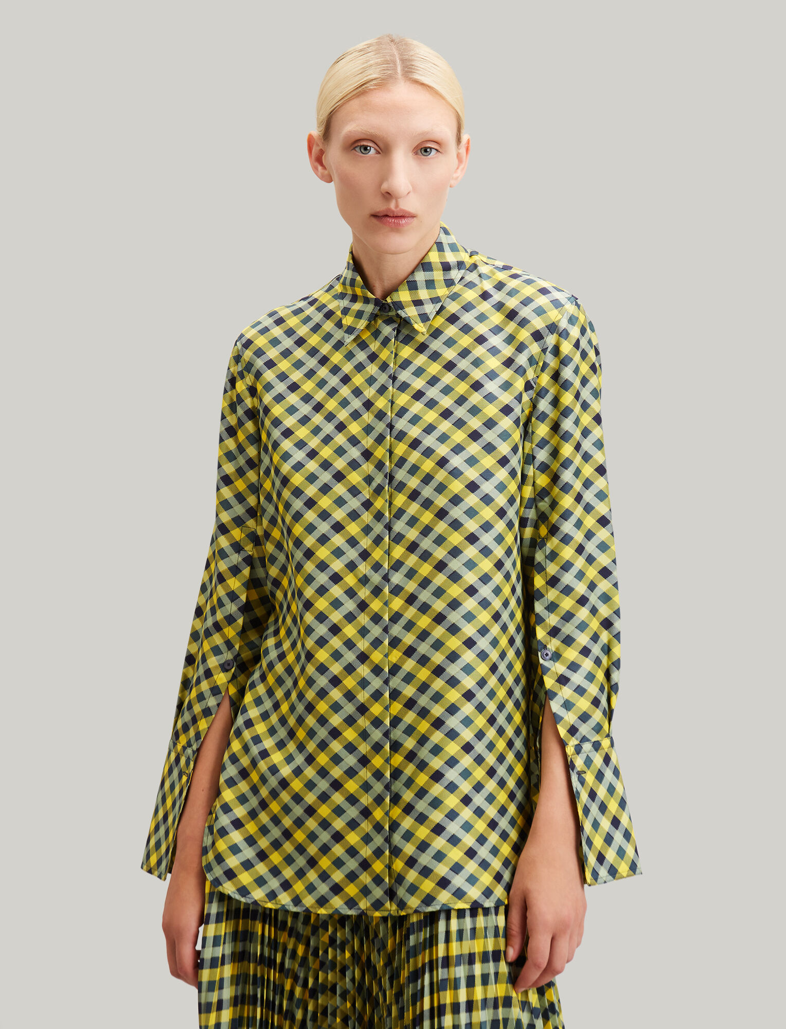 Joseph, Mason Diamond Weave Print Blouse, in YELLOW