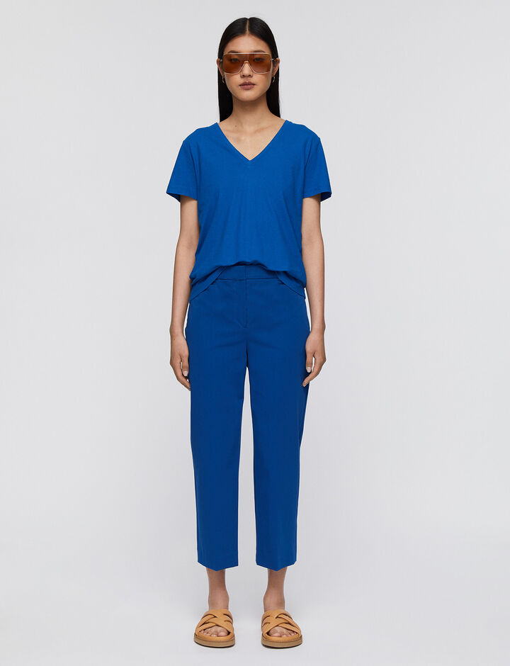 Joseph, Cotton Stretch Sloe Trousers, in MAJORELLE