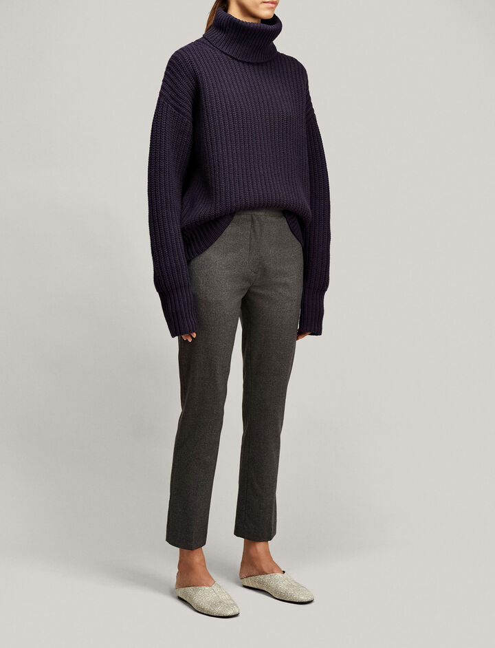 Joseph, Zoom Flannel Stretch Trousers, in CHARCOAL