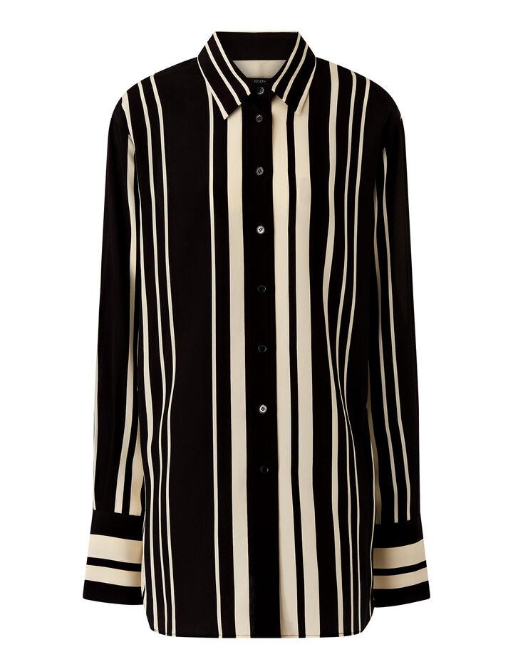 Joseph, Brooks-Silk Stripes, in GREY/BLACK